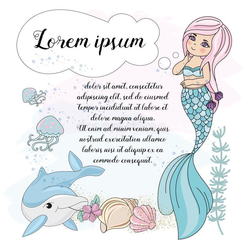 DRÖM för SJÖJUNGFRU för skolaAutumn Sea Underwater Vector Illustration uppsättning stock illustrationer