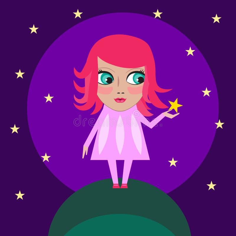 Dröm- flickor med stjärnan stock illustrationer