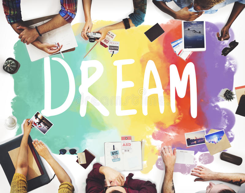 Dröm- hoppfullt begrepp för vision för inspirationfantasimål royaltyfri foto