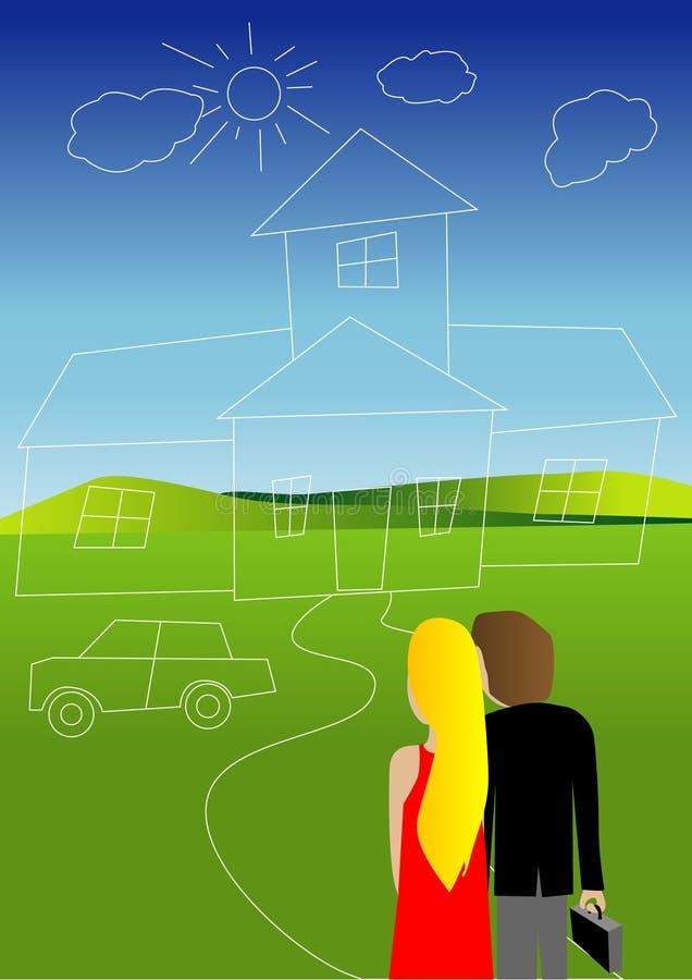 dröm- hus stock illustrationer