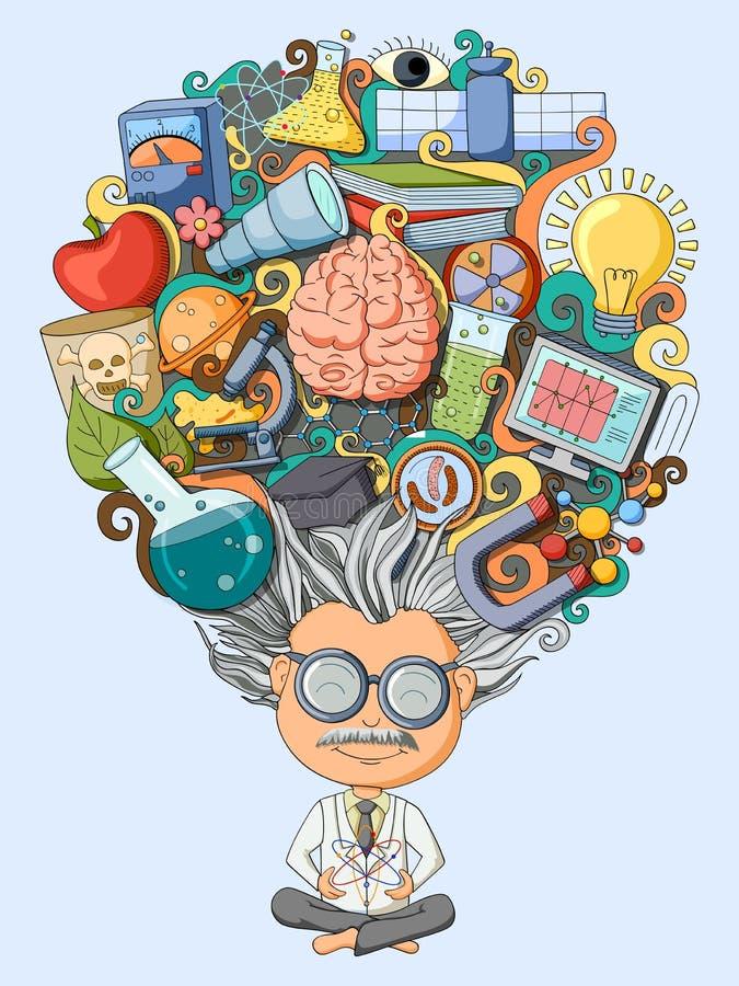 Dröm och tänkt av forskare stock illustrationer