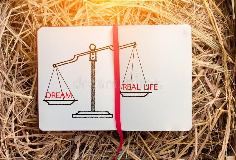 Dröm och verkliga livet med skalan på anteckningsboken arkivfoton