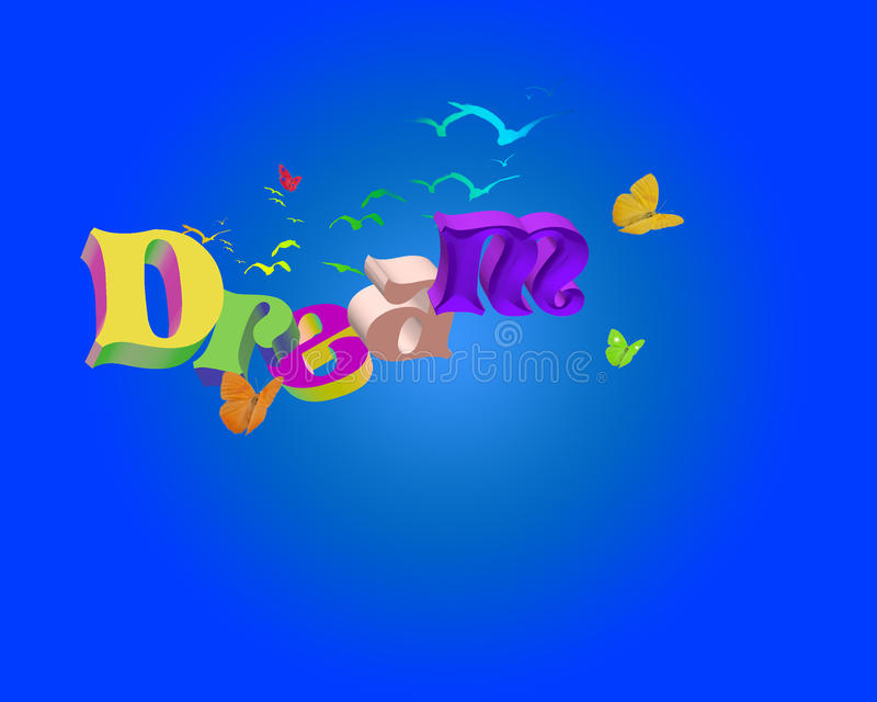 dröm- ord 3d vektor illustrationer