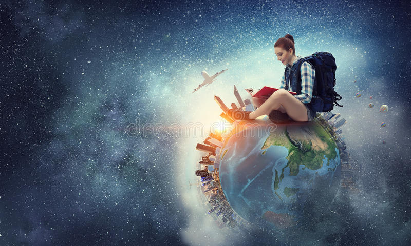 Dröm som runt om världen reser Blandat massmedia arkivbilder