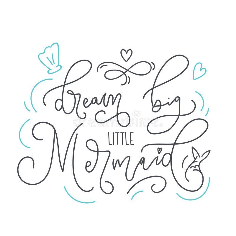 Dröm- stor liten dragit citationstecken för sjöjungfru hand med klotter vektor illustrationer