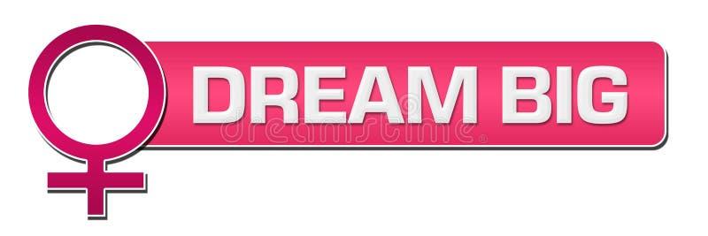 Dröm- stora kvinnliga horisontalsymbolrosa färger vektor illustrationer