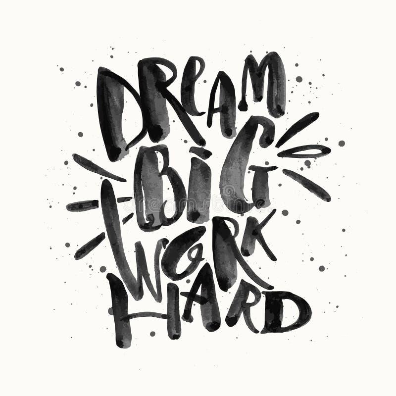 Dröm- stort arbete hårt Glit för guld för motivation för begreppshandbokstäver vektor illustrationer