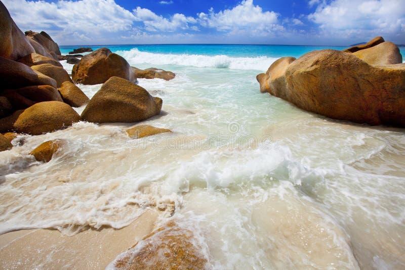 Dröm- strand - Anse Georgette royaltyfria bilder