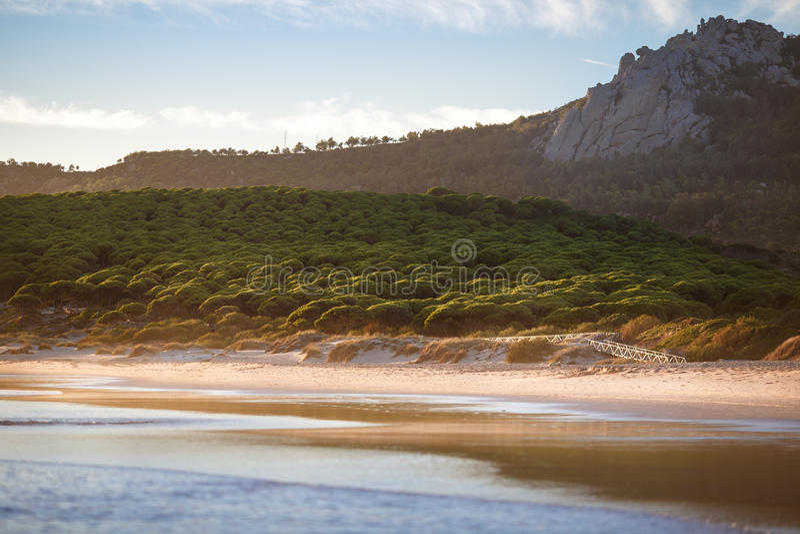 Dröm- strand av Bolonia, Tarifa, andalusia Spanien royaltyfri foto