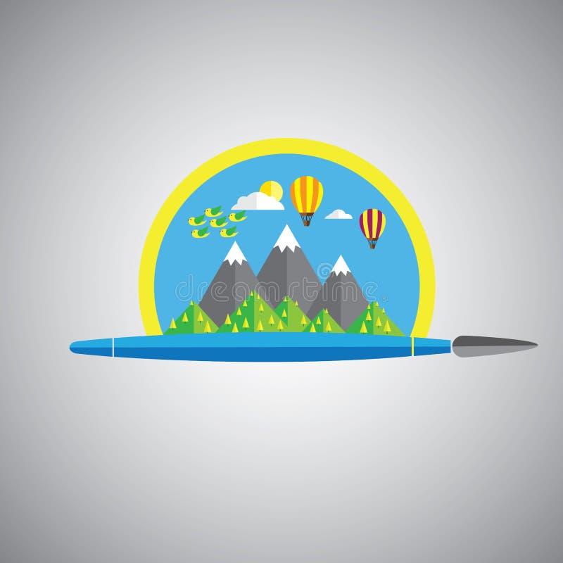 Dröm- symbol för målningborstevektor i plant designformat med regn vektor illustrationer