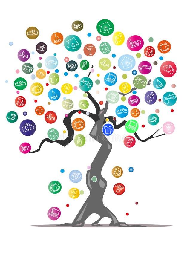 Dröm- tree stock illustrationer