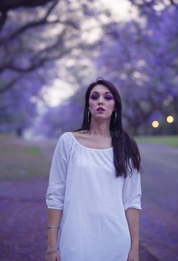 Drömlik bild av den härliga kvinnan i den vita klänningen som går i gatan som omges av purpurfärgade jakarandaträd arkivfoto