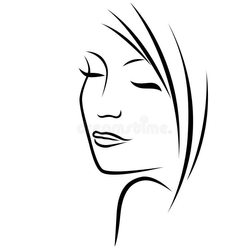 Drömlik flicka med stängda ögon stock illustrationer