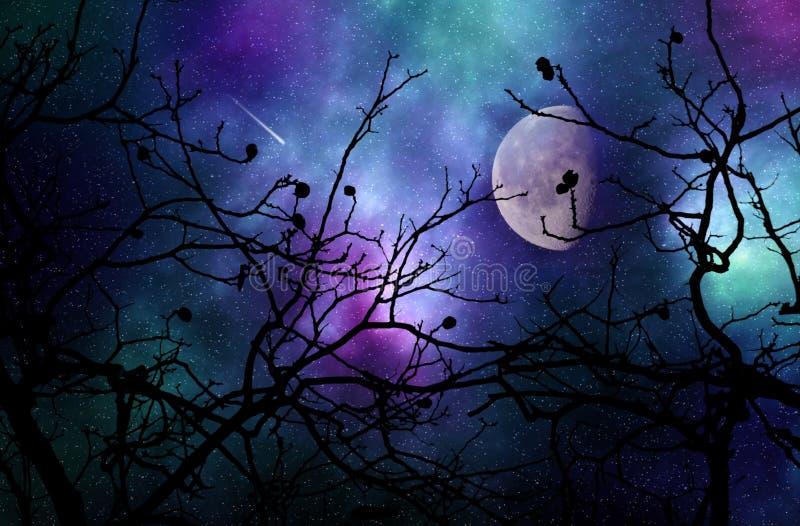 Drömlik natthimmel royaltyfri illustrationer