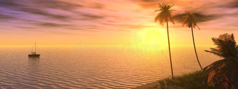 drömlik solnedgång royaltyfri illustrationer