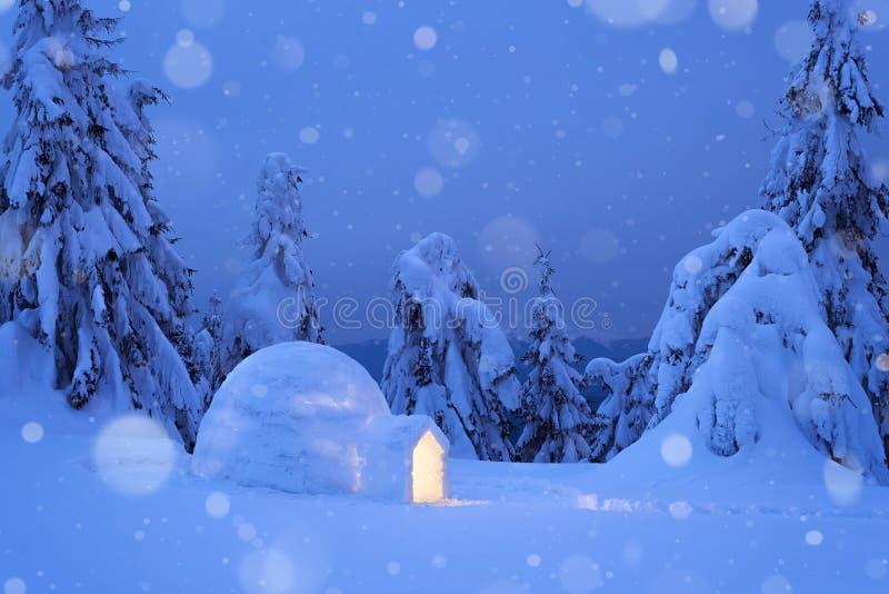 Drömlik vinterplats med en igloosnö royaltyfri foto