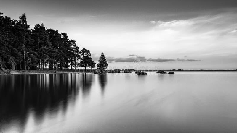 Drömlikt nordiskt svartvitt solståndlandskap royaltyfri bild