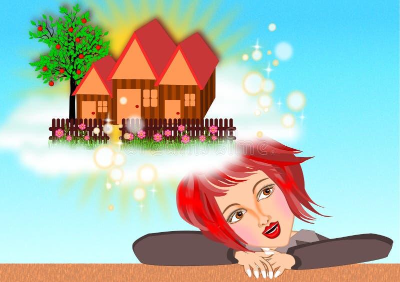 Drömma av ett nytt hus royaltyfri illustrationer
