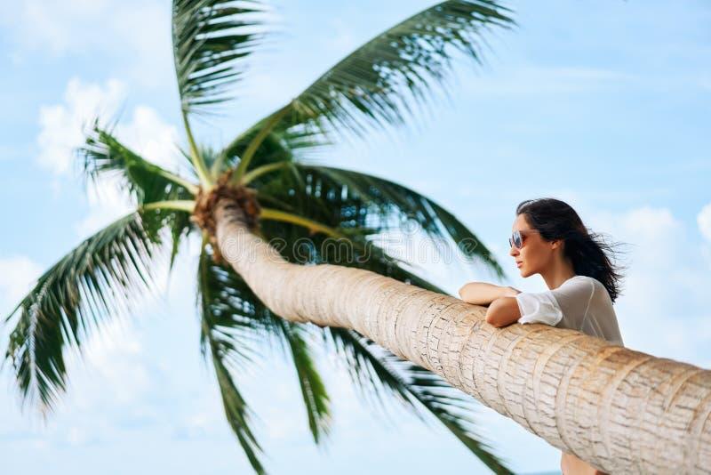 Drömma den härliga kvinnan koppla av på den tropiska stranden med palmträdet arkivfoto