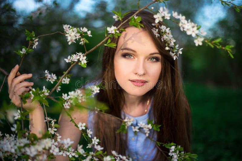 Drömma den unga kvinnan med det blommande körsbärsröda trädet i trädgård royaltyfria foton