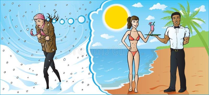 drömma frysa varm flickasemester stock illustrationer