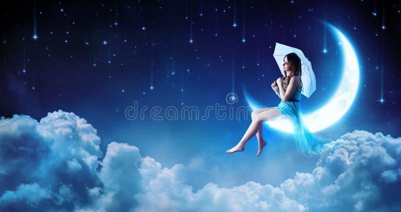 Drömma i fantasinatten royaltyfria foton
