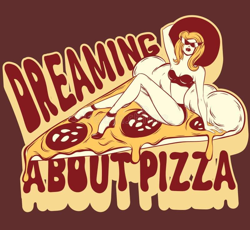 Drömma om pizza Utdragen illustration för vektorhand av kvinnan i baddräkt på pizza vektor illustrationer