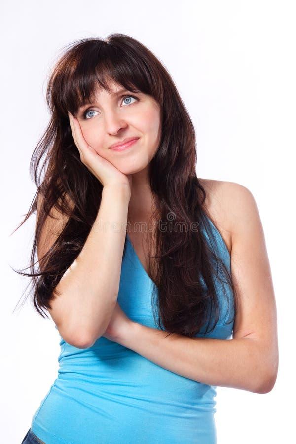drömma tänkande kvinnabarn för head holding arkivfoton