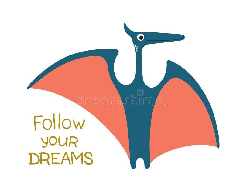 drömmar följer ditt gullig dinosaur vektor illustrationer