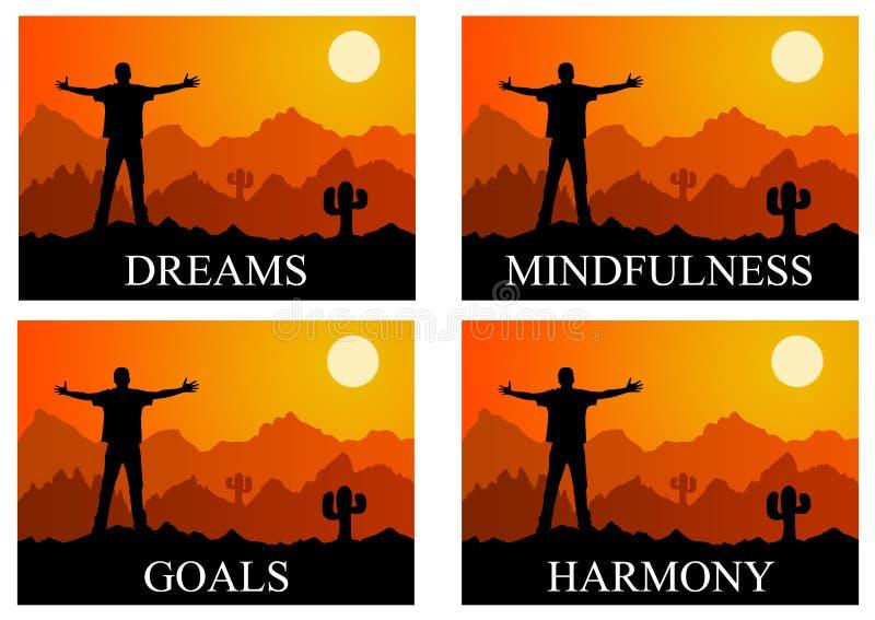 Drömmar och harmoni vektor illustrationer