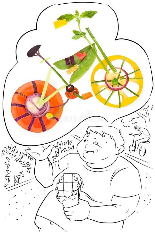 Drömmar om cykeln. royaltyfri illustrationer