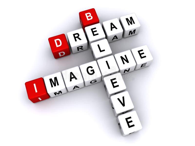 Drömmen föreställer för att tro stock illustrationer