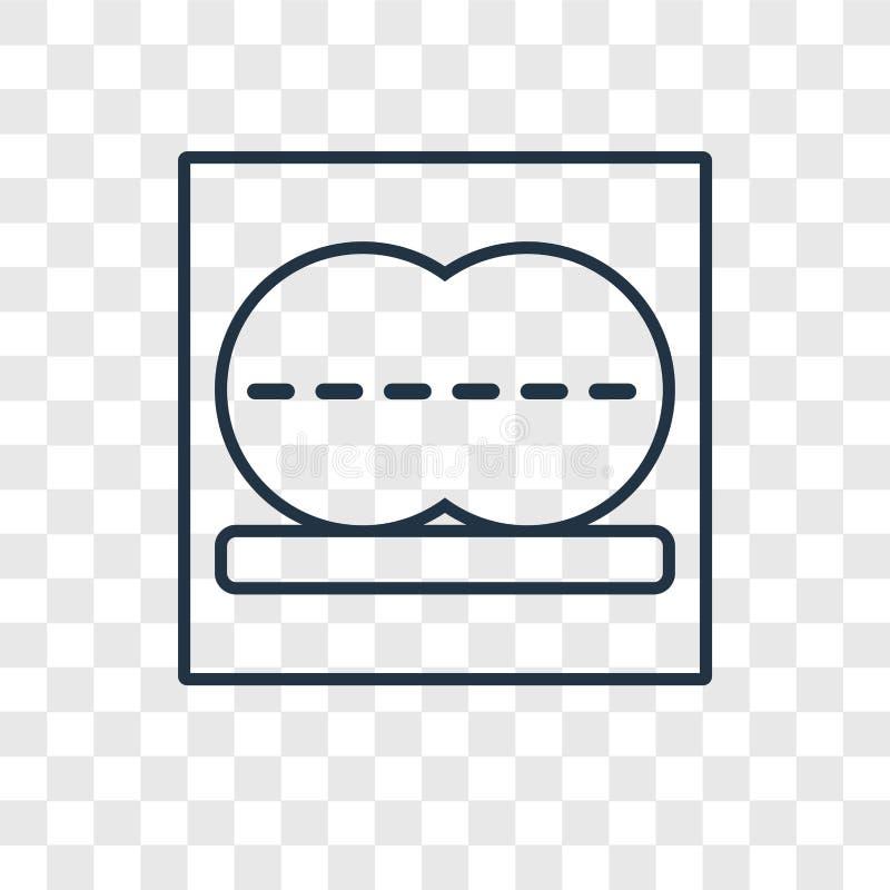 Drücken Sie die lineare Ikone des Konzeptvektors flach, die auf transparentem backg lokalisiert wird stock abbildung
