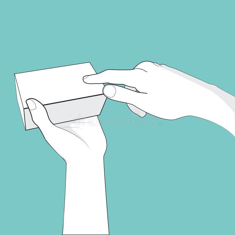 Drücken Sie Hand und Kasten stock abbildung