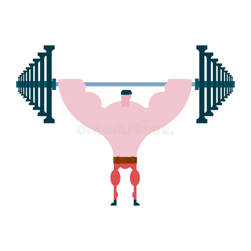 Drücken Sie herauf Barbell Athlet und Barbell Bodybuilding und powerlif vektor abbildung