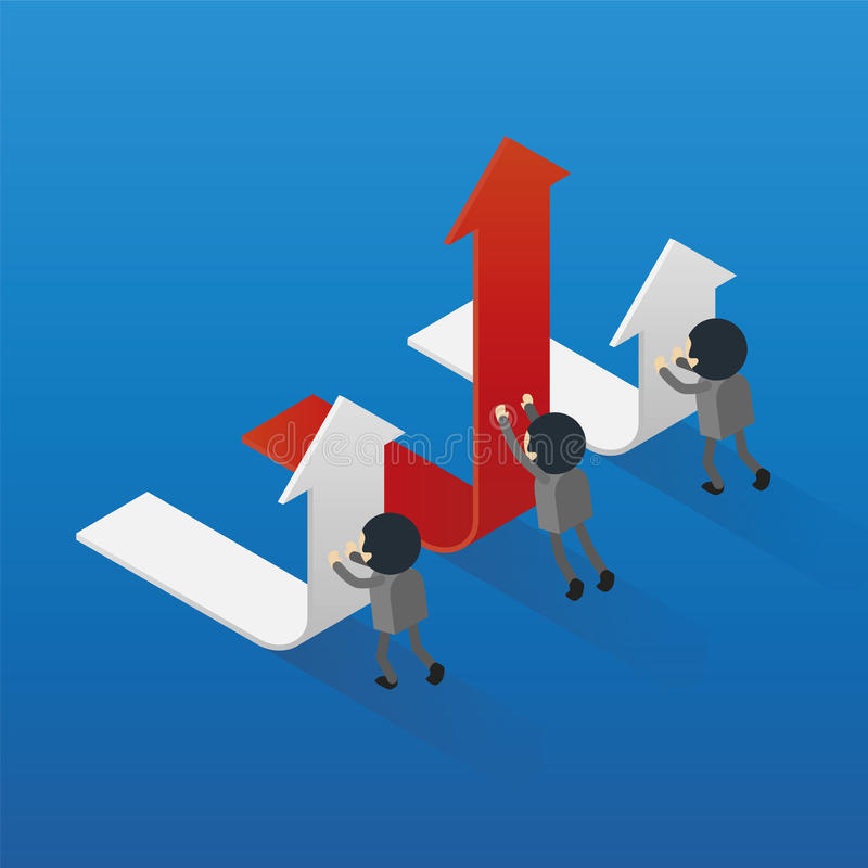 Drücken Sie isometrischen Richtungsgeschäfts-Konzeptvektor des Pfeiles den ändernden vektor abbildung