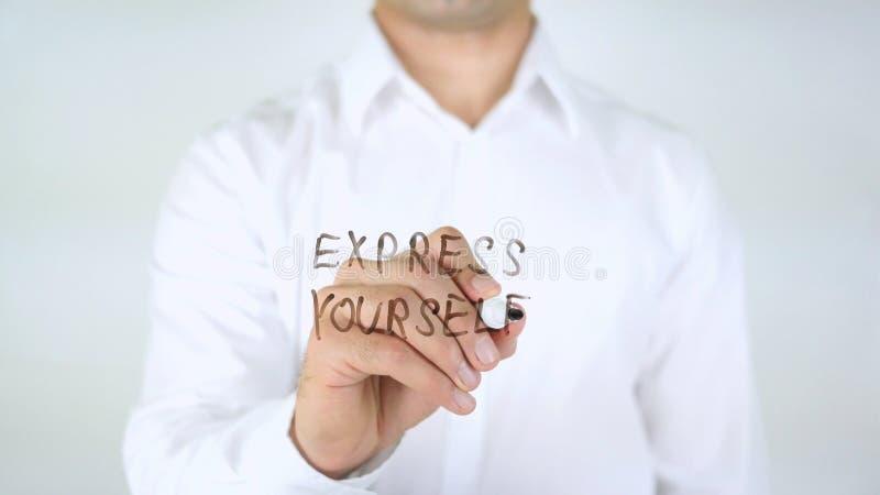 Drücken Sie sich, Mann-Schreiben auf Glas aus stockfotos
