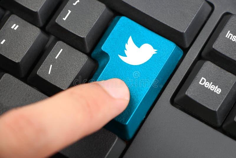 Drücken Sie Twitter-Tastatur-Knopf lizenzfreies stockfoto