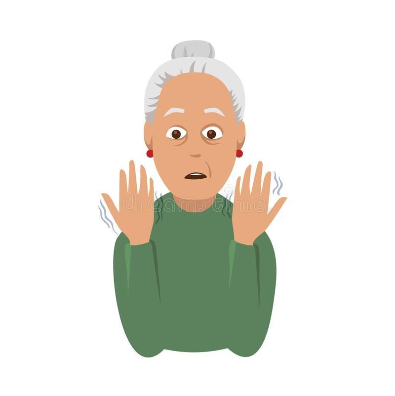 Drżenie ręki Starsza kobieta patrzeje potrząsalne ręki Objaw Parkinson ` s choroba Medyczna wektorowa ilustracja ilustracja wektor