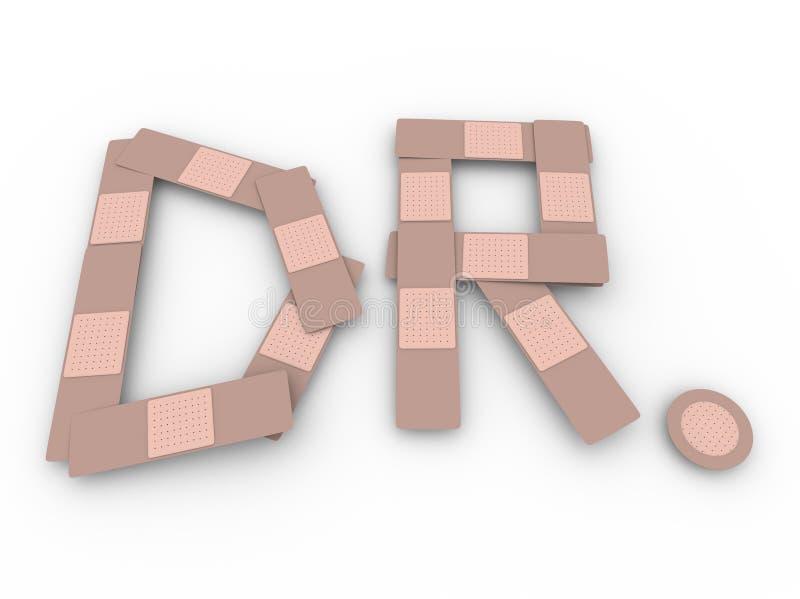 Dr. Abbreviation Doctor Medical bande la guérison de blessure illustration stock