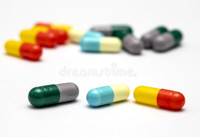 Capsules and pills for health royalty free stock photos