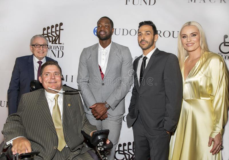 Dr. Barth Green, Marc Buoniconti, Dwayne Wade, Amir Arison, and Lindsey Vonn royalty free stock image