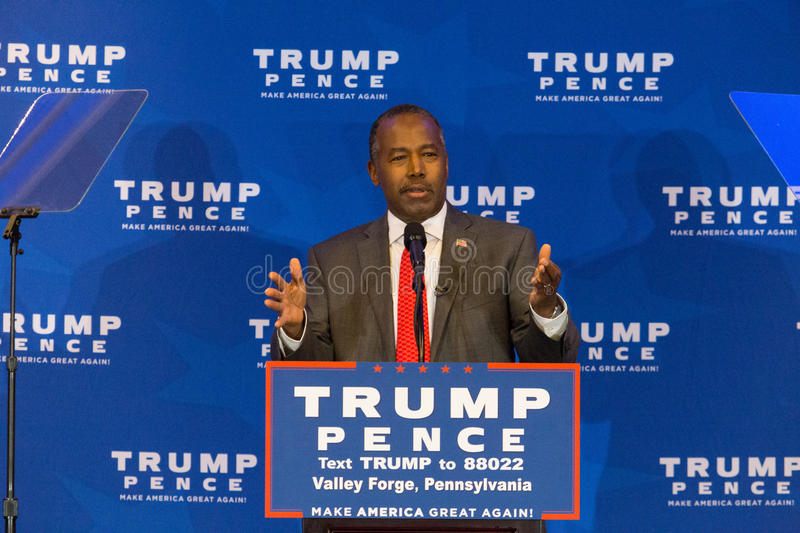 Dr Ben Carson Campaigns Near Valley Forge stock photography