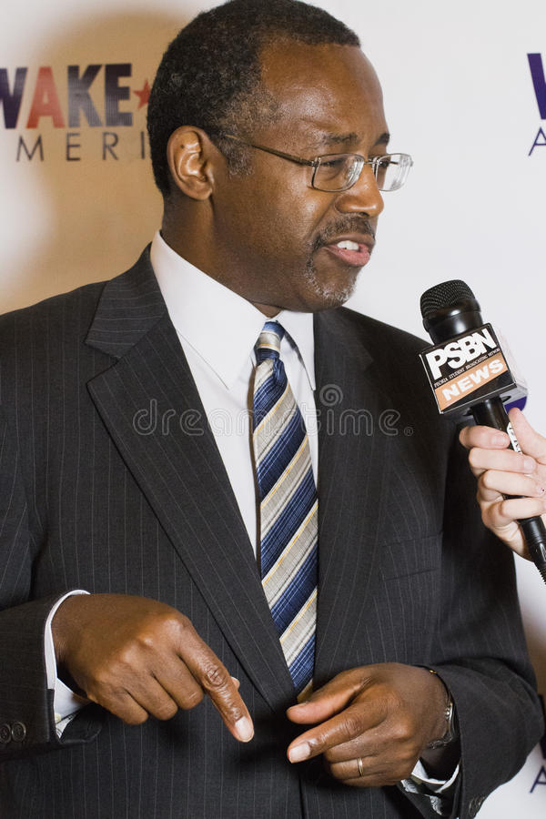 Dr. Ben E. Carson possibly running for U.S President. Dr. Ben E. Carson, a conservative who may run for as a Republican for the U.S. Presidency, gives a speech stock photography