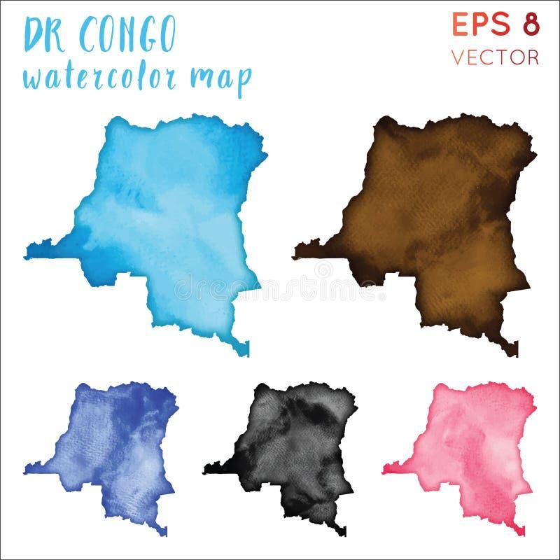 DR. Congo-de kaart van het waterverfland stock illustratie
