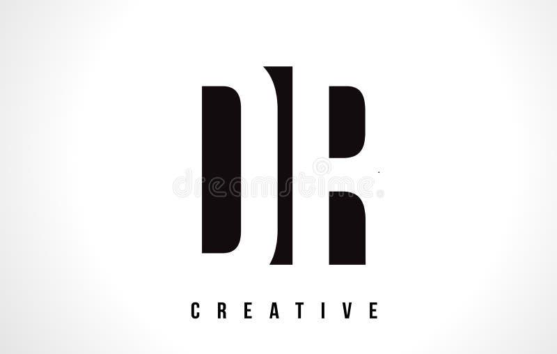 Dr. D R White Letter Logo Design com quadrado preto ilustração royalty free