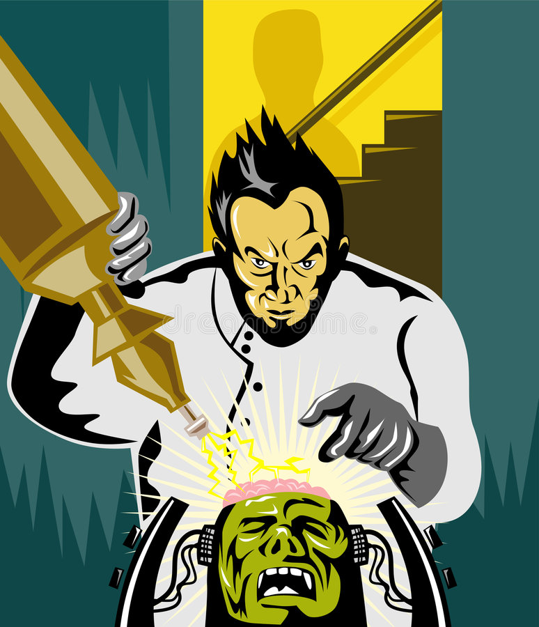 Dr Frankenstein at work stock illustration