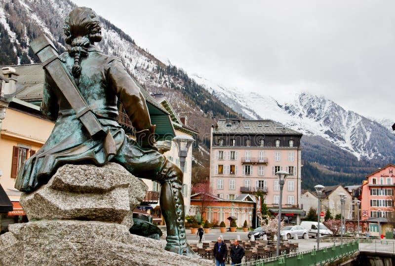 Dr Gabriel Michel Paccard statue, Chamonix, France. Statue of Dr Gabriel Michel Paccard in Chamonix, France on April 18th, 2012. Dr Gabriel Michel Paccard made stock photos