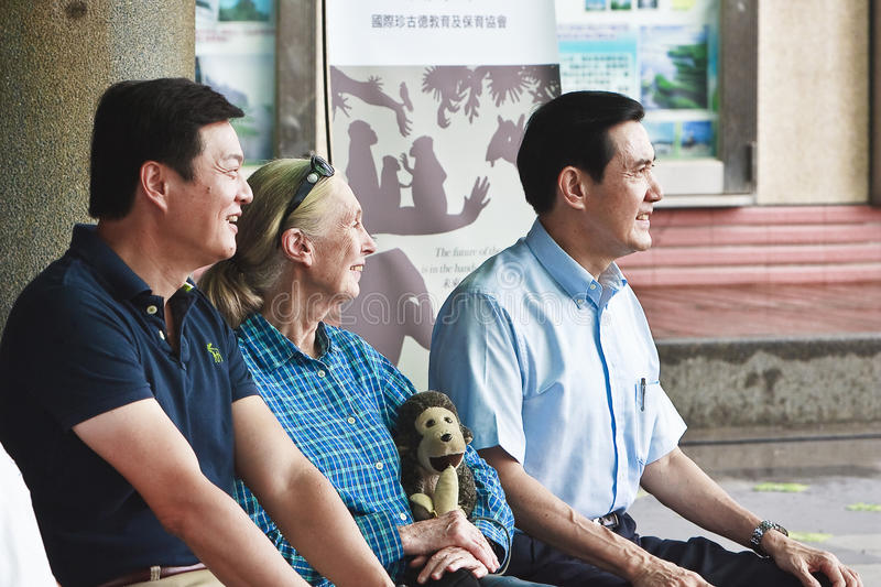 Dr. Jane Goodall in 2010 the ROC Taiwan. Dr. Jane Goodall in 2010 the Republic of China Taiwan to participate in tree planting activities to do, ROC President Ma royalty free stock image