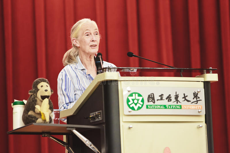 Dr. Jane Goodall, National Taitung University, Rep stock image